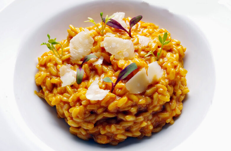 Risotto de Maratelli con sobrasada y queso azul